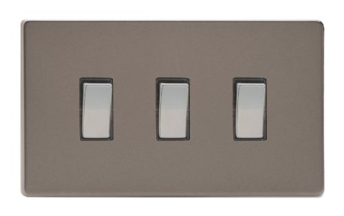 Varilight XDR93S Screwless Pewter 3 Gang 10A 1 or 2 Way Rocker Light Switch (Twin Plate)